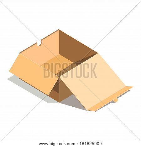 Empty paper open cardboard box isolated on white background vector illustration. Delivery shipping package, square empty container, carton store package in flat design. Compact blank parcel