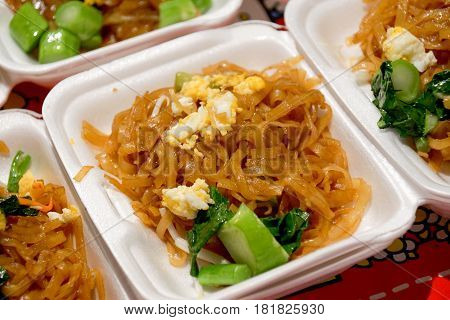Pad Thai Noodles, Thai Food Served In Styrofoam Of Food Container
