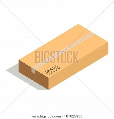 Closed paper cardboard box isolated on white background vector illustration. Delivery shipping package, square packed container, carton store package in flat design. Compact posted parcel