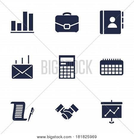 Set Of 9 Bureau Icons Set.Collection Of Diplomat, Handshake, Calendar Elements.