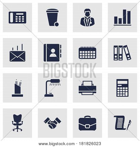 Set Of 16 Bureau Icons Set.Collection Of Manager, Telephone, Diagram And Other Elements.