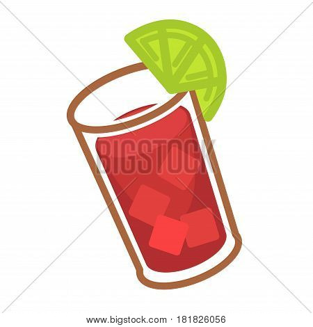 Modern cocktail Bloody Mary with ice cubes and slice of lime in glass highball. Prepared from classic vodka, tomato and lemon juice, worcester sauce, acute tabasco and other spice vector illustration