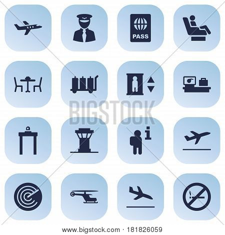 Set Of 16 Aircraft Icons Set.Collection Of Tower, Letdown, Aviator And Other Elements.