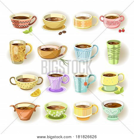 Cups with and without handles, in various colorful prints and size set on white. Vector poster in flat design of deep dishes and mugs with coffee or tea inside and some additional components