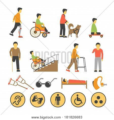 Disabled people and necessary equipments for them with round warning signs. Vector banner of people on carriages, with artificial part of body and other diseases, round symbol signs and special tools.