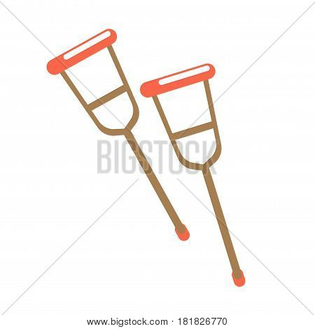 Pair of crutches isolated on white vector illustration. Long sticks with crosspiece at top, used as support under armpit by lame person. Disability concept equipment in flat style design