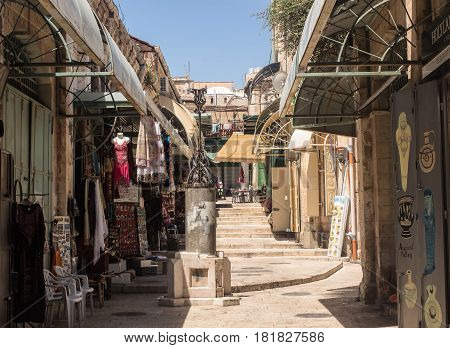 ISRAEL JERUSALEM - MAY 15 2014: Bazaar in Old City popular place for tourists in Jerusalem