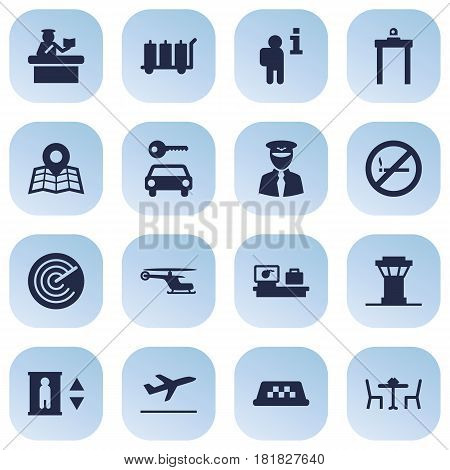 Set Of 16 Aircraft Icons Set.Collection Of Data, Security, Chopper And Other Elements.