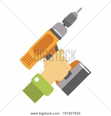 Hand with screwdriver vector illustration isolated on white. Tool with flattened, cross-shaped, or star-shaped tip that fits into head of screw to turn it. Working instrument repairing service logo