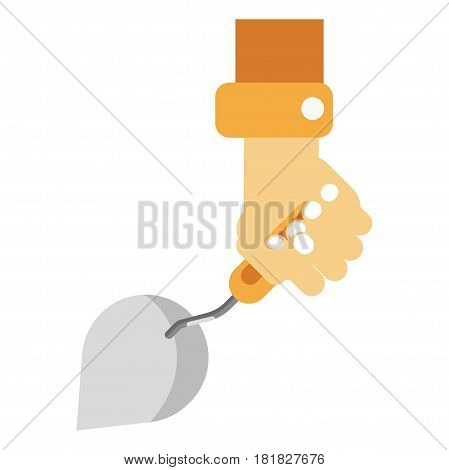 Human hand holding sharp construction spatula. Vector colorful illustration in flat design of isolated male arm in orange clothes working with special tool for renovations and repairing on white