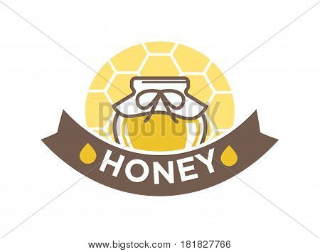 Organic sweet honey in jar with honeycomb logo design in flat style. Pot with sweet mead and abstract cartoon honeymead vector illustration. Advertising label for mead production with text