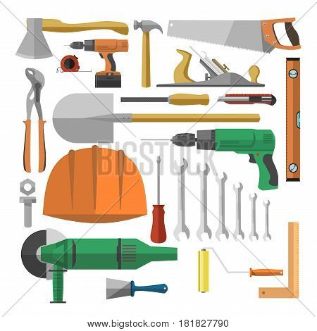 Tools for repairing vector colorful poster on white. Necessary instruments of various sizes and types, worker's orange helmet for inside and outside home reparation collection in flat design