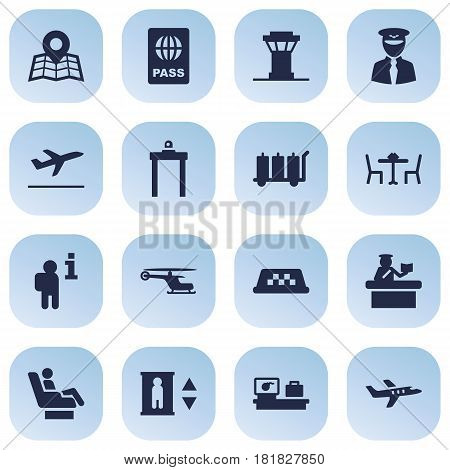 Set Of 16 Airplane Icons Set.Collection Of Data, Aviator, Resolver And Other Elements.