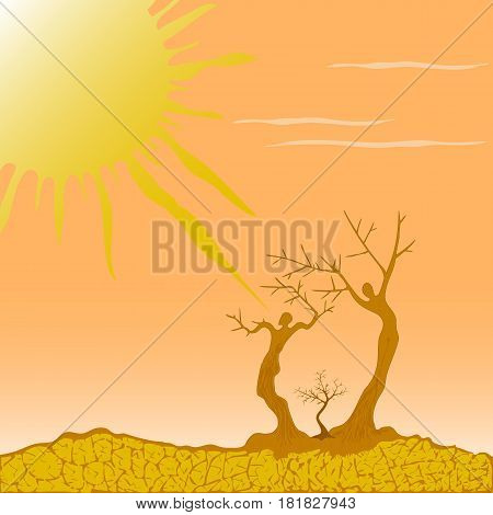 Vector illustration of dry trees in the desert symbolizing the struggle for life in nature