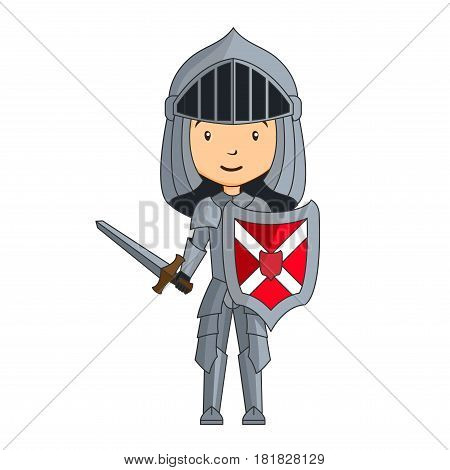 Cartoon knight character with sword on a white background