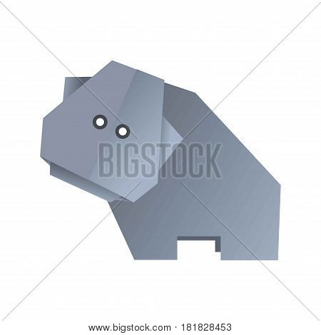 Origami hippo animal isolated on white vector illustration. Wild creature hippopotamus made of carton paper in grey color, side view. Handmade concept with behemoth figure in flat design cartoon style