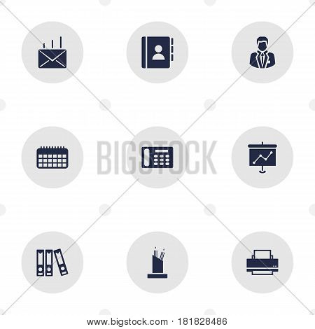 Set Of 9 Work Icons Set.Collection Of Pencil Stand, Address Book, Presentation Elements.