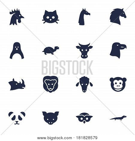 Set Of 16 Brute Icons Set.Collection Of Bear, Ape, Steed And Other Elements.
