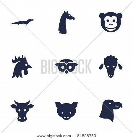 Set Of 9 Beast Icons Set.Collection Of Mutton, Hog, Bird And Other Elements.