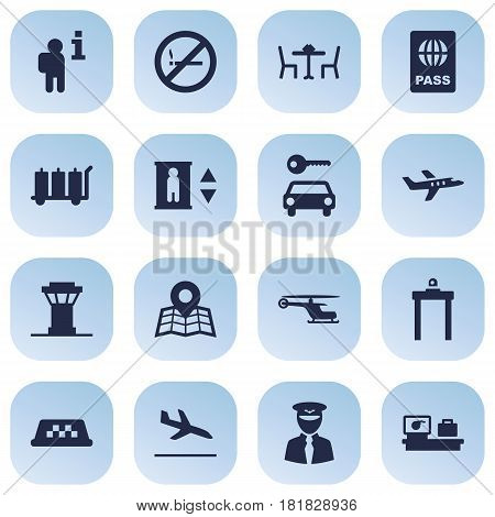 Set Of 16 Land Icons Set.Collection Of Passport, Aviator, Resolver And Other Elements.