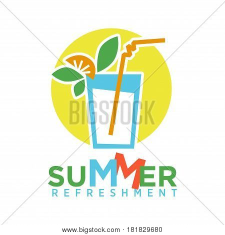 Summer refreshing cocktail with straw, fruits and mint logo on background of yelow circle isolated on white. Glass with drink and decorative elements vector illustration, alcohol beverage icon in flat