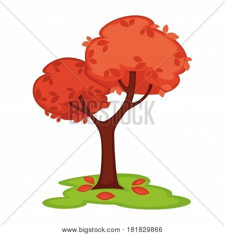 Vector colorful illustration in flat design of tall wood in windy cold weather in autumn season with falling foliage on green land. Nature template bowed tree with red leaves isolated on white.