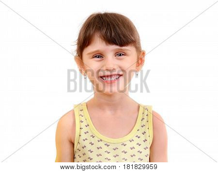 Cheerful Little Girl Isolated on the White Background