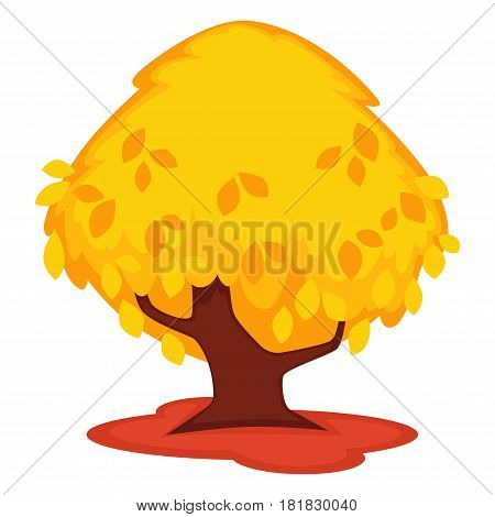 Strong old tree with yellow leaves isolated on white. Vector colorful illustration in flat design of high wood with huge thick stem on red in autumn season. Natural long-lived plants template