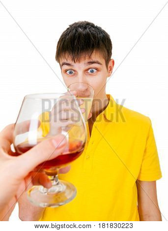 Young Man with a Fruit Juice deny an Alcohol Isolated on the White Background