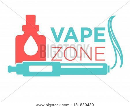 Vape zone start vaping logo design isolated on white. Vape e-cigarette emblem vector illustration. Professional vapeshop logotype label sticker. Electronic cigarette for store advert, smoking concept