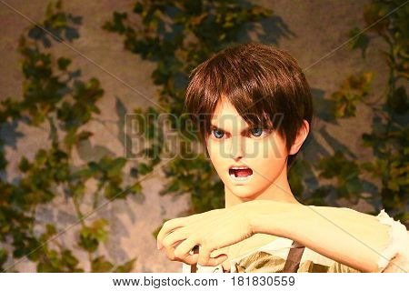 Osaka, Japan - Feb 12 2016:Attack on Titan at Universal Studios japan,Clone-oid of Ellen jaeger from Shingeki no Kyojin