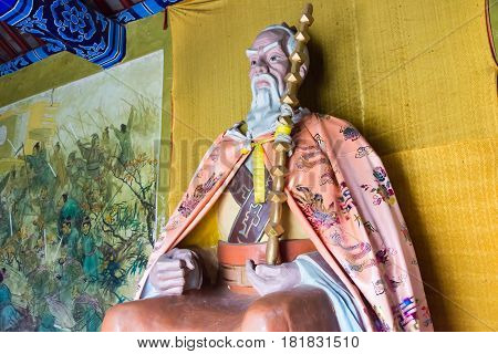 Henan, China - Nov 28 2014: Statue Of Jiang Ziya At Youlicheng. A Famous Historic Site In Anyang, He