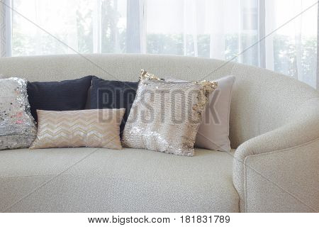 Luxury Style Pillows On Round Shape Sofa With Sheer Curtain In Background
