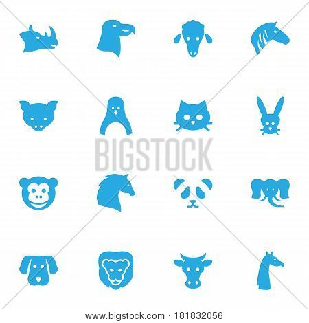 Set Of 16 Alive Icons Set.Collection Of Kine, Steed, Camelopard And Other Elements.