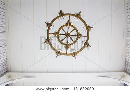 Close up  vintage ceiling chandelier interior background