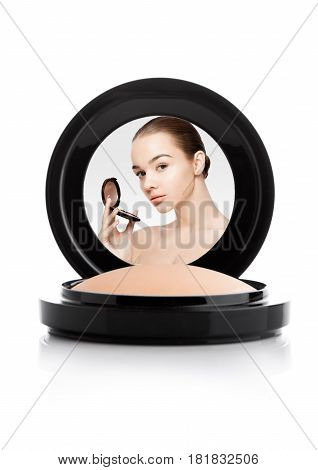 Makeup Foundation Powder Case With Beautiful Model