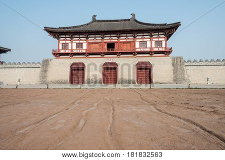 Luoyang, China - Nov 18 2014: Street Remains Outside Dingding Gate From The Sui And Tang Dynasty. Un