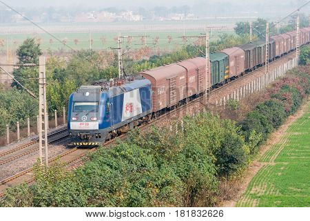 Henan, China - Nov 16 2014: China Railways Hxd3 Electric Locomotive In Luoyang, Henan, China. The Lo