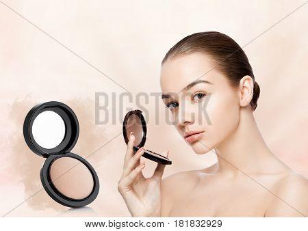 Beauty Makeup Model Holding Powder Foundation