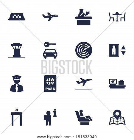 Set Of 16 Land Icons Set.Collection Of Location, Security, Aviator And Other Elements.