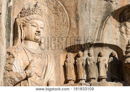 Luoyang, China - Nov 13 2014: Longmen Grottoes. Unesco World Heritage Site In Luoyang, Henan, China.