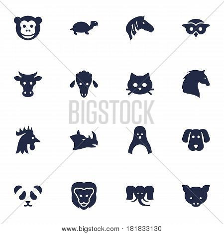 Set Of 16 Alive Icons Set.Collection Of Ape, Hog, Tomcat And Other Elements.