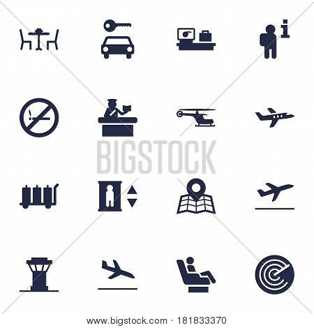 Set Of 16 Aircraft Icons Set.Collection Of Forbidden, Restaurant, Security And Other Elements.