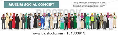 Arab man and woman different professions standing together in row on white background in flat style. Flat design people characters. Social concept. Muslim concept.