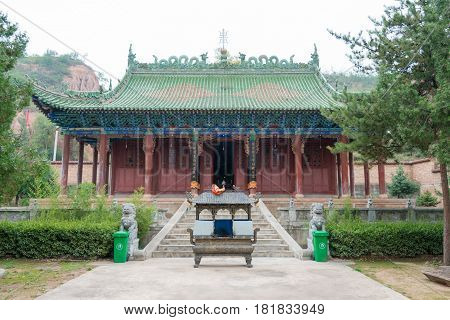 Gangu, China - Oct 10 2014: Jiang Wei Temple In Gangu, Tianshui, Gansu, China. Jiang Wei(202–264) Wa
