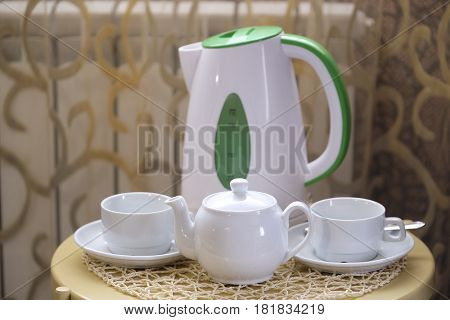 Tea cups and teapot