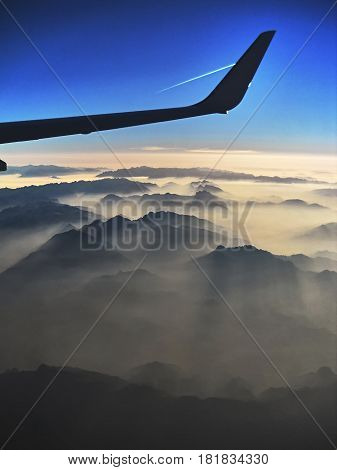 Photos landscape of the French Alps from the plane..