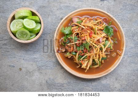 Spicy cockle salad served with fresh vegetable Thai style seafood