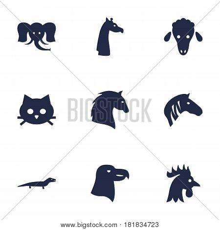 Set Of 9 Beast Icons Set.Collection Of Bishop, Steed, Camelopard And Other Elements.