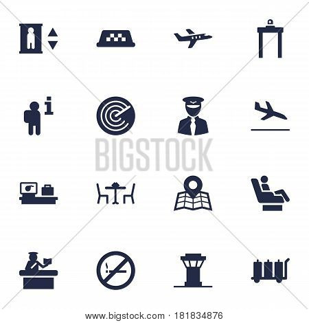 Set Of 16 Aircraft Icons Set.Collection Of Aviator, Resolver, Aircraft And Other Elements.